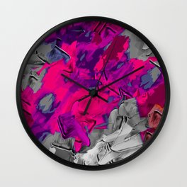 pink purple black painting texture abstract background Wall Clock