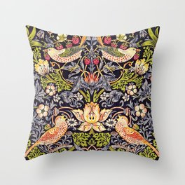 William Morris Strawberry Thief Art Nouveau Painting Throw Pillow