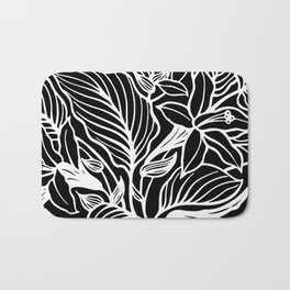 Black White Floral Bath Mat