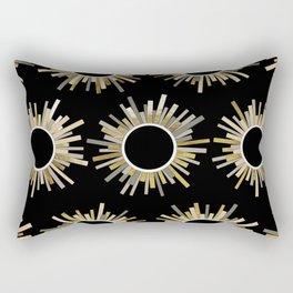 Art Deco Starburst in Black Rectangular Pillow