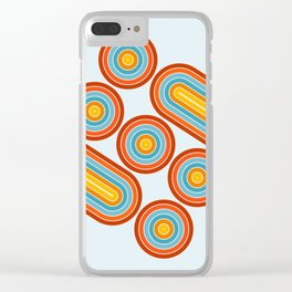 Retro Motion 2 – Orange / Yellow / Blue Abstract Stripe Pattern Clear iPhone Case