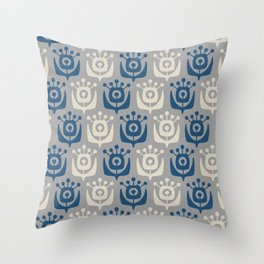 Mid Century Modern Retro Flower Pattern Gray and Blue 931 Throw Pillow
