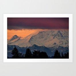Autumn Morning Light on Mount Rainier Art Print