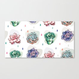 Succulent pattern with drops Canvas Print