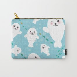 Funny albino white fur seal pups, cute kawaii seals Carry-All Pouch