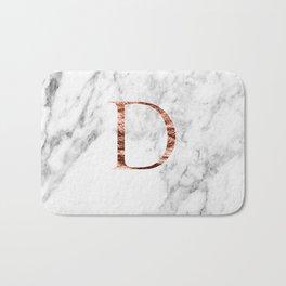 Monogram rose gold marble D Bath Mat