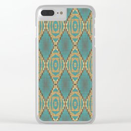 Teal Turquoise Caramel Coffee Brown Rustic Native American Indian Cabin Mosaic Pattern Clear iPhone Case