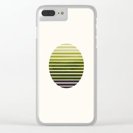 Olive Green Mid Century Modern Minimalist Scandinavian Colorful Stripes Geometric Pattern Round Circ Clear iPhone Case
