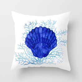 Seashell on coral - watercolors Throw Pillow