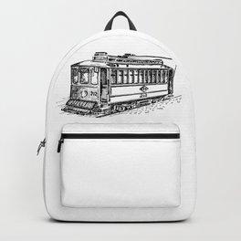 City Tram Detailed Illustration Backpack