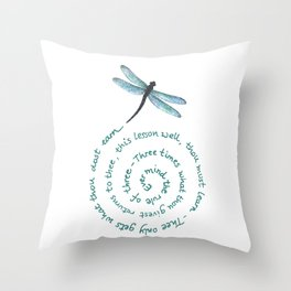 Witches rule of Three and dragonfly Throw Pillow