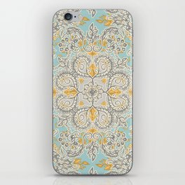 Gypsy Floral in Soft Neutrals, Grey & Yellow on Sage iPhone Skin
