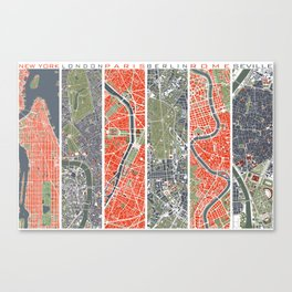 Six cities: NYC London Paris Berlin Rome Seville Canvas Print