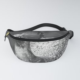 Black and white photo of peacock Fanny Pack