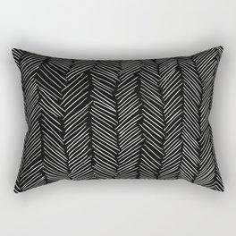 Herringbone Cream on Black Rectangular Pillow