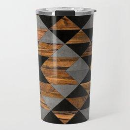 Urban Tribal Pattern 10 - Aztec - Concrete and Wood Travel Mug