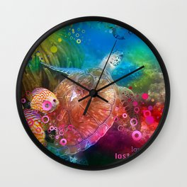 Sea Turtle In Living Color Wall Clock