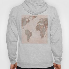 Rosegold Marble Map of the World Hoody