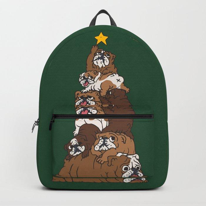 Christmas Tree English Bulldog Backpack