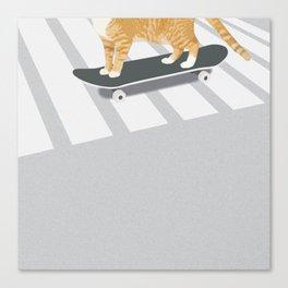 Skateboarding cat Canvas Print