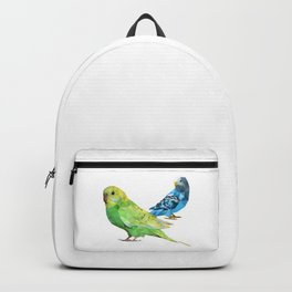 Geometric green and blue parakeets Backpack