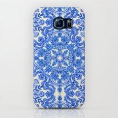 Cobalt Blue & China White Folk Art Pattern Slim Case Galaxy S8