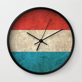 Old and Worn Distressed Vintage Flag of Luxembourg Wall Clock