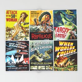 50s Sci-Fi Movie Poster Collage #1 Throw Blanket
