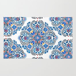 Blue-red mandala Rug