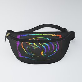 Silhouette of a woman with a bob hairstyle. Portrait of a neon outline on a black background. Fanny Pack