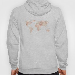 World Map Marble Rose Gold Shimmer Hoody