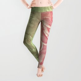 Pink and green wattle and kaleidoscope Leggings