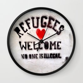 Refugees Welcome Wall Clock