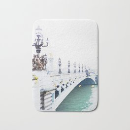 Pont Alexandre III Paris Bridge Watercolor Bath Mat