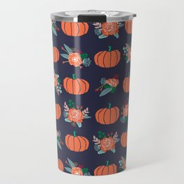 Pumpkin florals cute pattern pillow home decor dorm college seasonal fall autumn Travel Mug