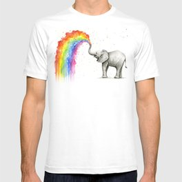 Baby Elephant Spraying Rainbow Whimsical Animals T-shirt