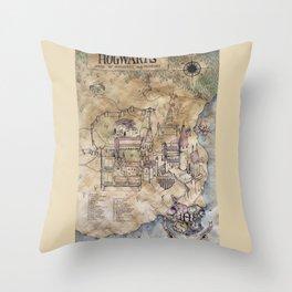 Hogwarts Map Throw Pillow