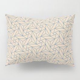 Blue & Beige Abstract Triangle Geometric Mosaic Shape Pattern Pairs To 2020 Color of the Year Pillow Sham