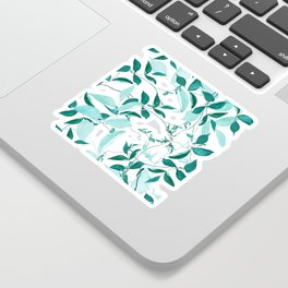 fresh green leaf pattern Sticker