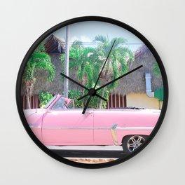 Pink Vintage Car in Havana Wall Clock