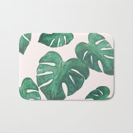 Monstera Leaves on Pink Bath Mat