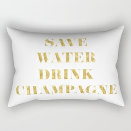 Save Water Drink Champagne Gold Rectangular Pillow