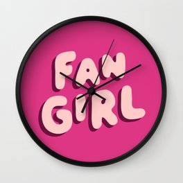 Fangirl in Pink Wall Clock