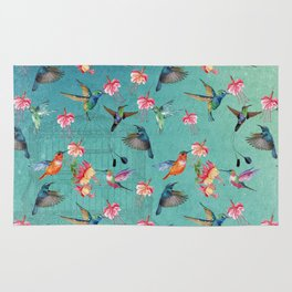 Vintage Watercolor hummingbirds and fuchsia flowers Rug