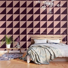 Modern blush pink burgundy watercolor color block geometric Wallpaper