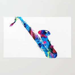 Colorful Saxophone by Sharon Cummings Rug