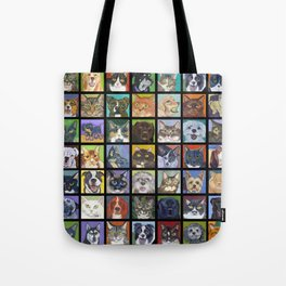 Cats and Dogs in Black Tote Bag