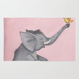 A Little Birdie Told Me - Elephant and Bird Rug