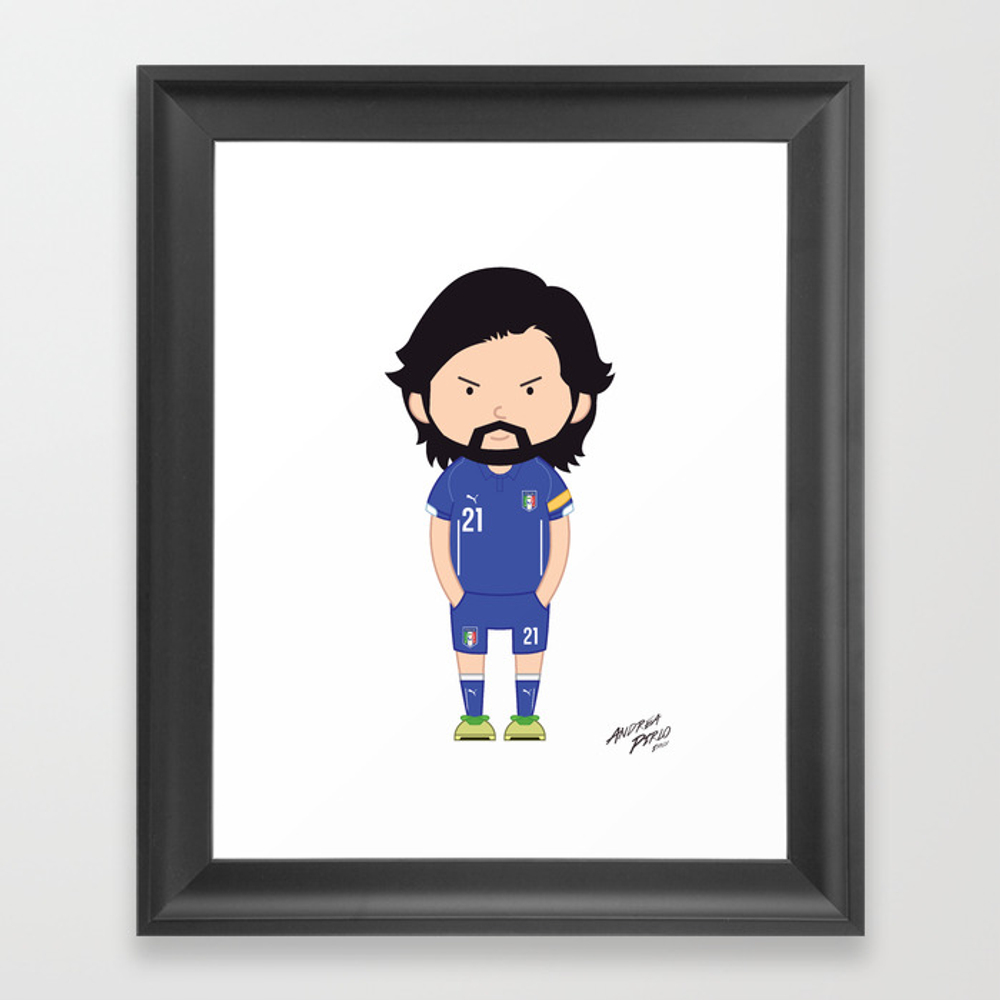 Andrea Pirlo - Italy - World Cup 2014 Framed Art Print by Toonsoccer FRM9027163