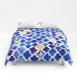 Rustic Watercolor Moroccan in Royal Blue & Gold Comforters
